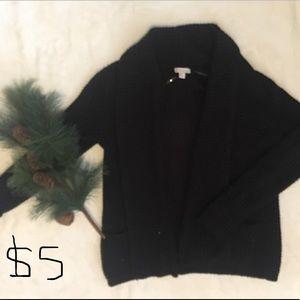 Black, waffle knit cardigan